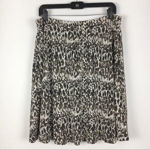 Ann Taylor Brown & Cream Abstract Leaf Print Skirt